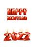 2022년 양초와 Happy New Year 글자 템플릿