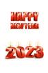 2023년 양초와 Happy New Year 글자 템플릿
