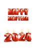 2024년 양초와 Happy New Year 글자 템플릿