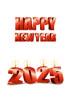 2025년 양초와 Happy New Year 글자 템플릿