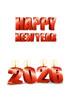2026년 양초와 Happy New Year 글자 템플릿