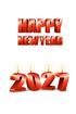 2027년 양초와 Happy New Year 글자 템플릿