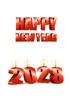 2028년 양초와 Happy New Year 글자 템플릿