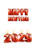 2029년 양초와 Happy New Year 글자 템플릿