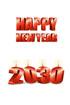 2030년 양초와 Happy New Year 글자 템플릿