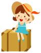 여행가방에앉아있는소녀 일러스트/이미지