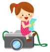 카메라에앉아있는여자아이 일러스트/이미지