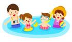 물놀이하는4인가족 일러스트/이미지