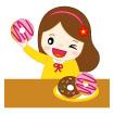 도넛든여자아이 일러스트/이미지