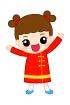 중국전통의상을입은여자아이 일러스트/이미지
