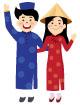 베트남전통의상을입은커플 일러스트/이미지