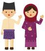 말레이시아전통의상을입은커플 일러스트/이미지