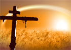 십자가 실루엣과 들판 템플릿