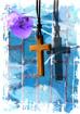 십자가 목걸이와 보라색 꽃잎 템플릿