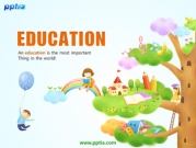 나무위에 교육소품과 어린이 템플릿