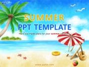 여름해변가에 파라솔과 야자수나무 템플릿
